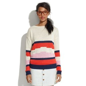 Madewell Striped Sweater 100% Linen size Small S